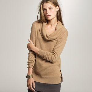 J. Crew Women Sweater Cowl Neck Large Tan